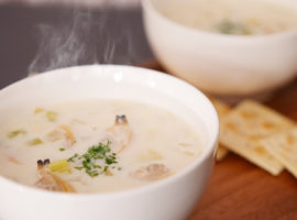 【ぽかぽかスープ】出汁からとって旨みたっぷり!濃厚あさりのクラムチャウダー
